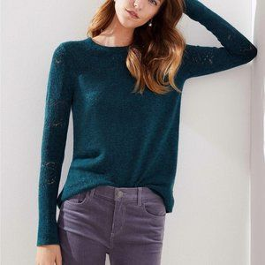 LOFT S Sweater Teal Blue Relaxed Pointelle 437611